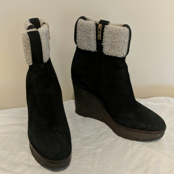 5f89cad754c Yves Saint Laurent Shoes | Ysl Black Suede Aspen Wedge Boots 41 ...